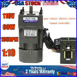 110V 60W AC Gear Motor Electric+Variable Speed Reduction Controller 135 RPM 110