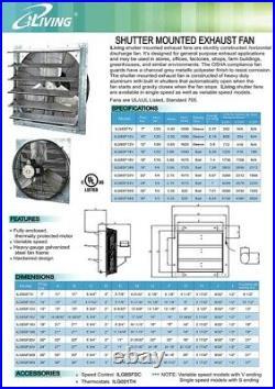 16 Shutter Exhaust Fan 1200 CFM Industrial Speed Wall Mount Garage Shop Attic
