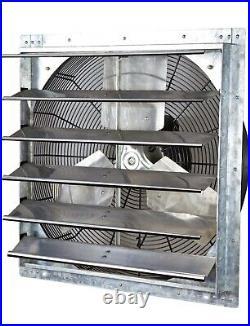 24 Industrial Exhaust Shutter Fan Variable Speed Wall Mount Garage, Shop New