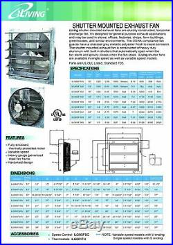 24 Variable Speed Shutter Exhaust Fan Wall Mount Ventilator Garage Greenhouse