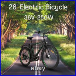26'' Electric Bike 250With36V Li-Battery Suspension Mountain Bicycle 6 Speed Ebike