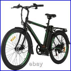 26'' Electric Bike 36V Li-Battery Suspension Mountain Bicycle 6 Speed Ebike New