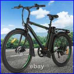 26'' Electric Bike 36V Li-Battery Suspension Mountain Bicycle 6 Speed Ebike USA