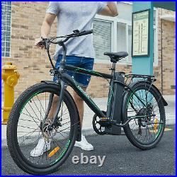26 Electric Cruiser Bike w Removable 10AH Battery Adults City Ebike 6Speed Gear