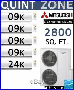 60000 BTU 5 Zone Ductless Mini Split Air Conditioner Heat Pump 9000 x 4 + 24000