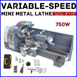 8 x 16 Mini Metal Lathe Bench Variable-Speed Digital RPM DC Motor 750W 110V