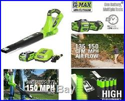 Cordless Leaf Blower Electric Battery Powered With Charger Variable Speed 150mph