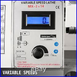 Mini Metal Lathe 8x14 Metalworking Machine Variable Speed 2250 RPM 650W 110V