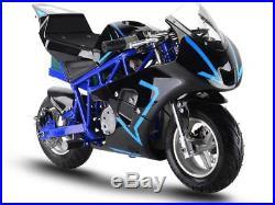 MotoTec 36v 500w Electric Pocket Bike GP Blue Variable Speed F/ R Disc Brakes