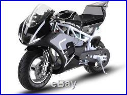 MotoTec 36v 500w Electric Pocket Bike GP White Variable Speed F/ R Disc Brakes