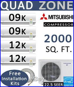 QUAD Zone Ductless Split Air Conditioner, 9000 x 2 + 12000 x 2 BTU 25ft Lines