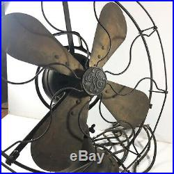 Vintage General Electric GE Brass Oscillating Fan 18 Working Variable Speed