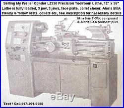 Weiler LZ330 Condor VS, 12x36 Precision Toolroom Lathe, Gunsmith Lathe, Loaded